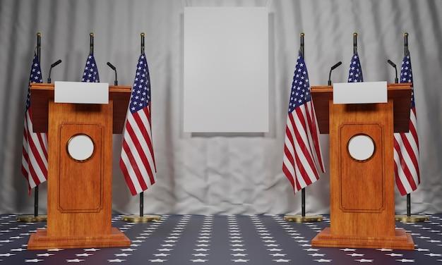 Vooraanzicht van vlaggen met twee podia voor amerikaanse verkiezingen