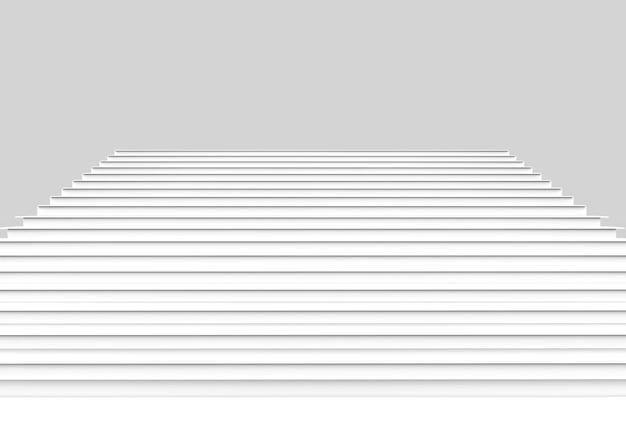 Vooraanzicht van witte trap op achtergrond.