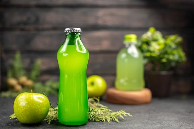 Vooraanzicht verse appellimonade in fles appel potplanten sap fles