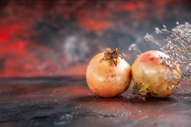 Vooraanzicht verse granaatappels gedroogde wilde bloemtak op donkerrode geïsoleerde achtergrondkopieplaats