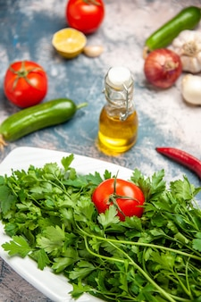 Vooraanzicht verse greens met tomaten op de lichtblauwe achtergrond rijpe salade fotokleur