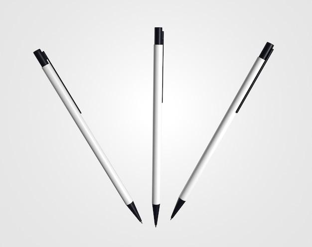 Vooraanzicht vliegende 3d-witte en zwarte pennen