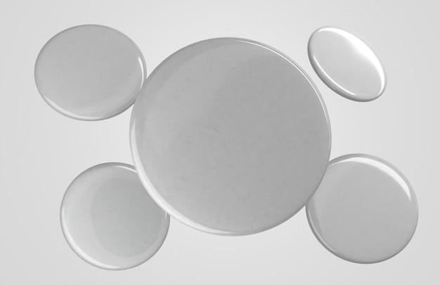 Vooraanzicht vliegende lege witte 3d badges