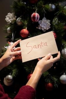 Vooraanzichtbrief voor de kerstman