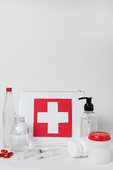 Vooraanzichtregeling van medische stillevenelementen
