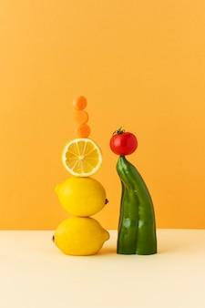 Vooraanzichtsamenstelling van gezond vegetarisch voedsel