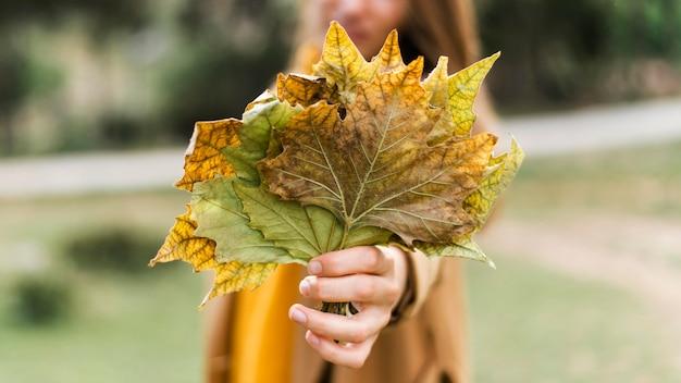 Vooraanzichtvrouw die een bos van bladeren houdt Gratis Foto