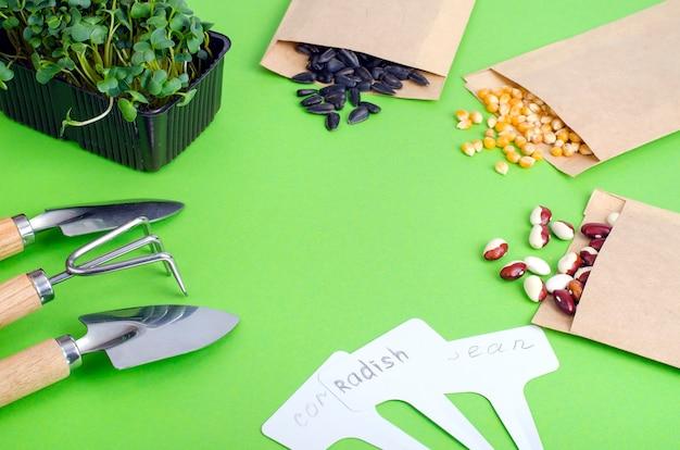 Voorbereiding en planning van de lente voor het zaaien van groente, veggie-zaden in enveloppen van ambachtelijk papier.