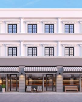 Voorkant van het commerciële gebouw in klassieke stijl 3d render met grijze en witte kleur