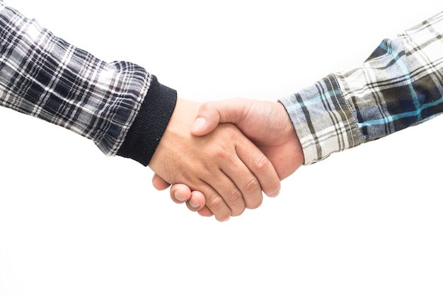 Voorman hand schudden voor partnerschap