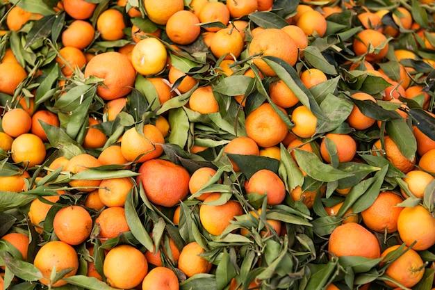 Voorraad sinaasappelen met bladeren