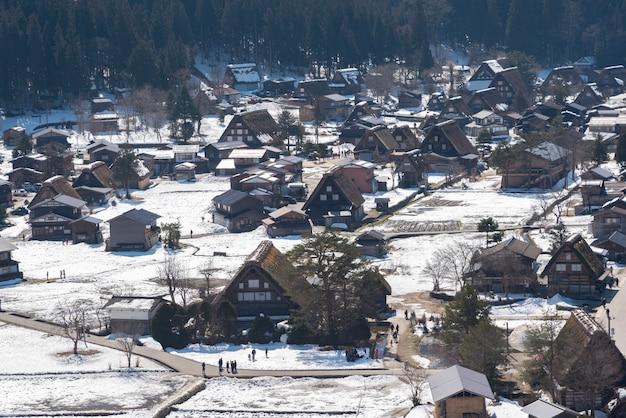 Voorraad videohistoric dorpen van shirakawa-ga en gokayama, japan in de winter.