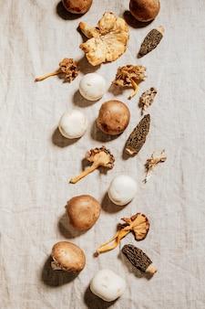 Voorraadfoto van samenstelling van paddestoelen en natuurlijke ingrediënten op de vodachtergrond van het beiglinnen.