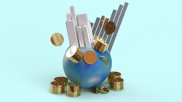 Voortbouwend op aarde munten en grafiek 3d-rendering voor zakelijke inhoud.