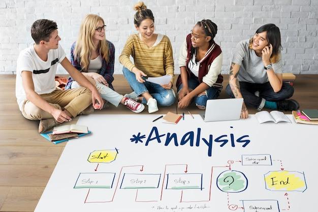 Vooruitgang onderzoeksanalyse strategiediagram