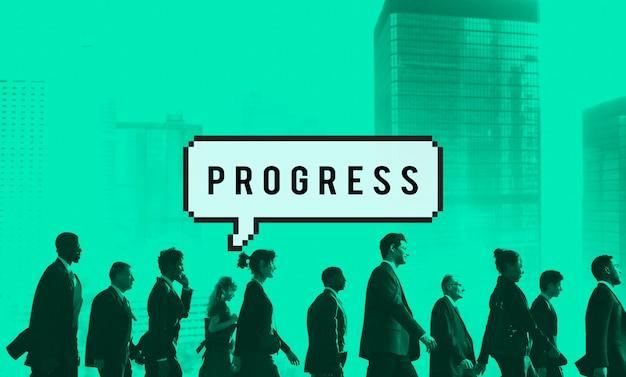 Vooruitgang progressie vooruitstrevend ontwikkelingsconcept