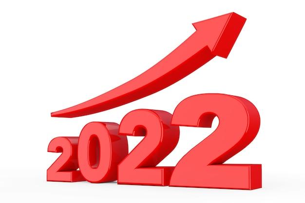 Vooruitgangspijl in het nieuwe jaarteken van 2022 op een witte achtergrond. 3d-rendering