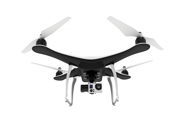 Voorzijde van een drone met digitale camera die op een witte achtergrond vliegt