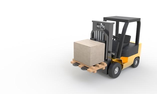 Vorkheftruck die kartonnen doos en houten pallet opheft
