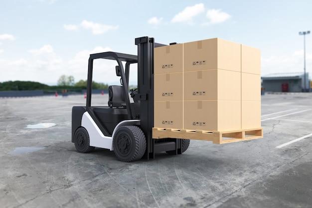 Vorkheftruck heft een pallet met kartonnen dozen