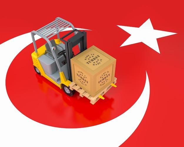 Vorkheftruck met houten exportkist. gemaakt in turkije. 3d-rendering