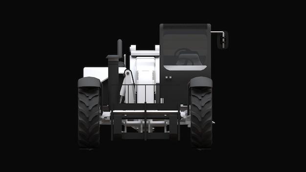 Vorkheftruck op een zwarte achtergrond. 3d-rendering.
