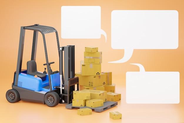 Vorkheftrucks met een kartonnen doos op een pallet en blanco tekstvak.