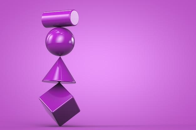Vormen 3d render paarse achtergrond