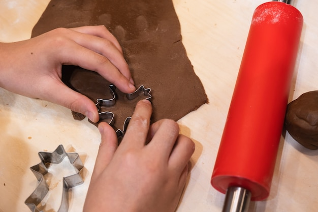Vormen voor kerstpeperkoek en kleurrijk glazuur voor het maken van zelfgemaakte kerstkoekjes