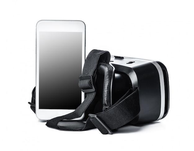 Vr-bril en smartphone geïsoleerd.
