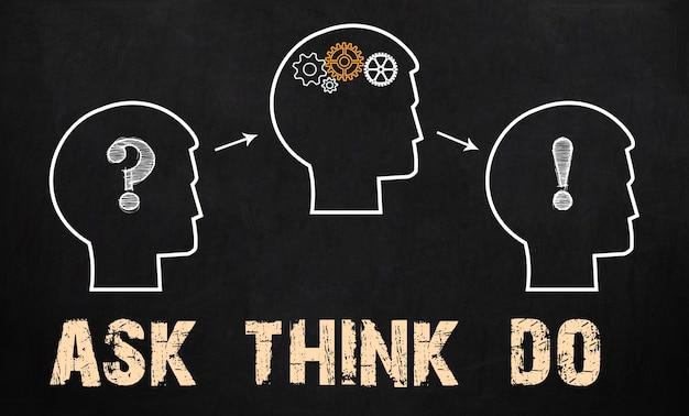 Vraag - denk - doe. bedrijfsconcept op schoolbord