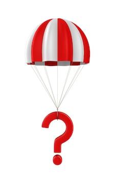 Vraag en parachute op witte ruimte