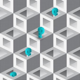 Vraagteken achtergrond of vraag naadloos patroon. 3d-afbeelding met kubussen