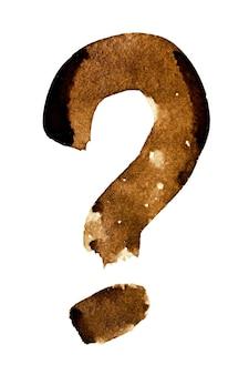 Vraagteken - alfabet in koffie