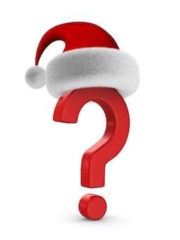 Vraagteken en kerstman hoed op witte ruimte. geïsoleerde 3d-afbeelding