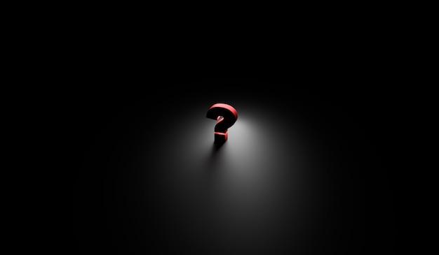 Vraagteken in donkere kamer 3d render
