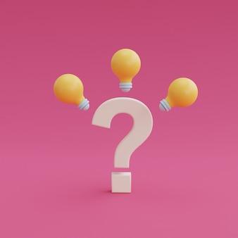 Vraagteken met gloeilampen op roze achtergrond