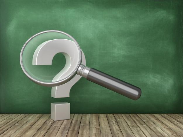 Vraagteken met loep op schoolbordachtergrond