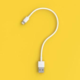 Vraagteken usb-kabel op geel