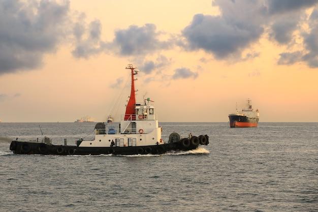 Vrachtschip en sleepboot in de ochtend