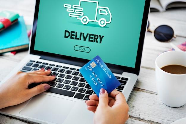 Vrachtwagen auto snelle levering serviceconcept