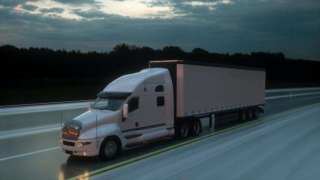 Vrachtwagen met oplegger op de weg transporteert logistiek concept