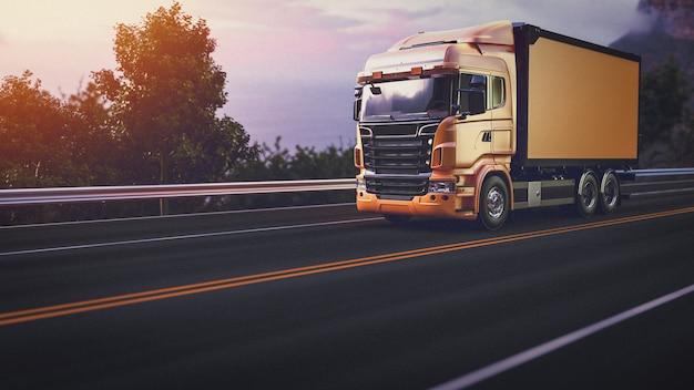 Vrachtwagen op de weg. 3d render en illustratie.
