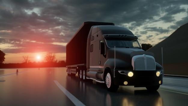 Vrachtwagen op de weg vervoert logistiek concept