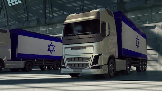 Vrachtwagens met de vlag van israël. vrachtwagens uit israël laden of lossen bij magazijndok. 3d-rendering.