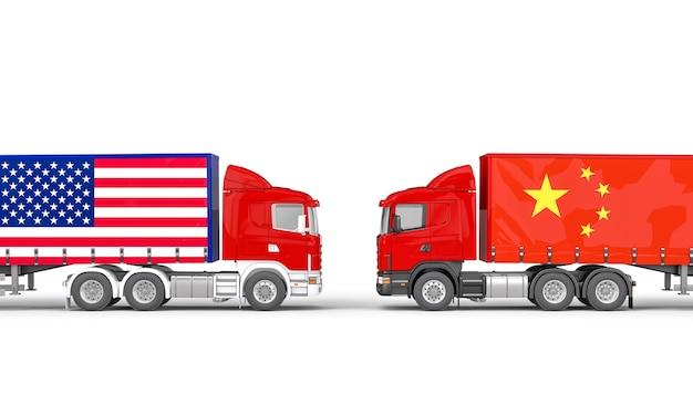 Vrachtwagens met de vs en de chinese vlag die elkaar onder ogen zien
