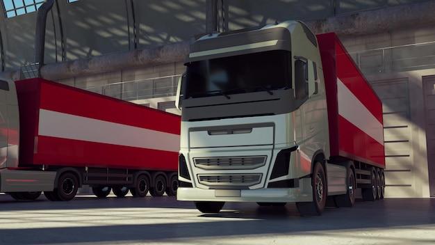 Vrachtwagens met vlag van oostenrijk. vrachtwagens uit oostenrijk laden of lossen bij magazijndok. 3d-rendering.