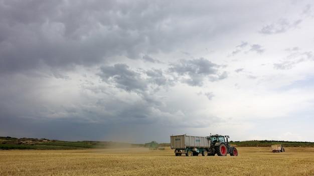 Vrachtwagens op het veld op een bewolkte dag tijdens de oogsttijd
