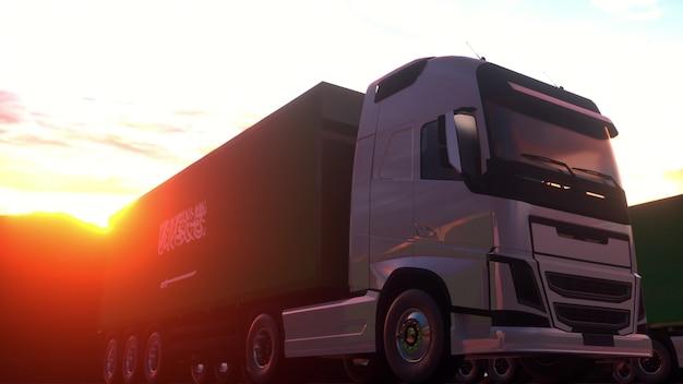Vrachtwagens uit saoedi-arabië laden of lossen bij magazijndok. 3d-rendering