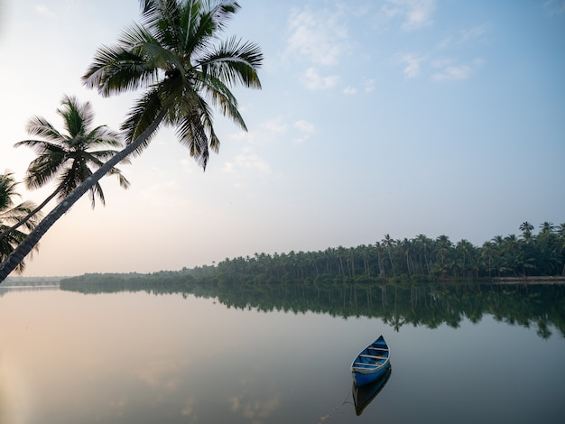 Vreedzame ochtendmening van boot in rivier en kokospalmen